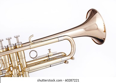 A professional gold trumpet isolated against a white background.