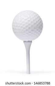 Professional golf ball on  tee, against white background