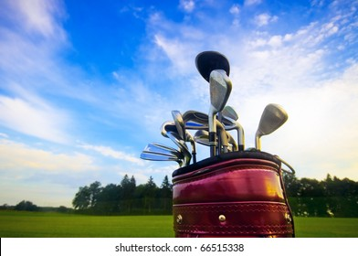 Professional golf gear on the golf field.