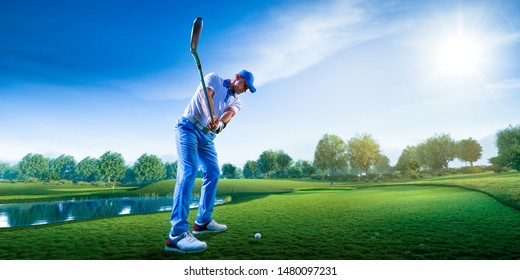 Professional golf player on a golf field