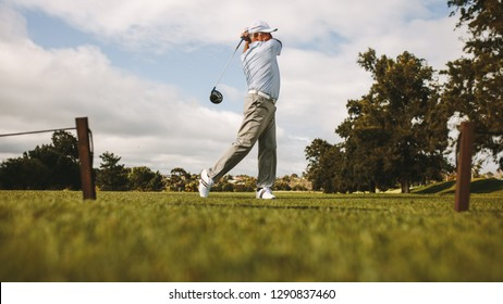 Professional golfer taking shot on the golf course. Senior golf player swinging golf club on the green.