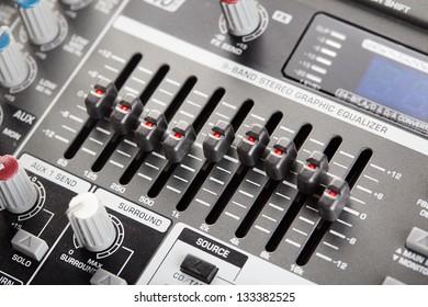 Professional graphic audio equalizer close-up