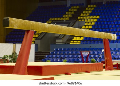 Professional gymnastic balance beam in sport palace