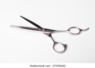 Professional Hair Scissors on White Background