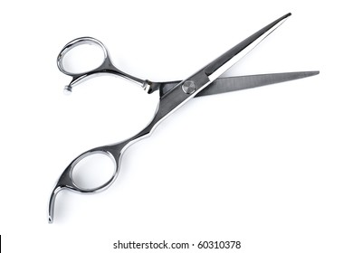 Professional Haircutting Scissors. Studio isolation on white.