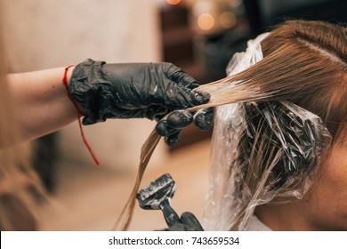 Professional hairdresser colorist dyeing client's hair in a salon