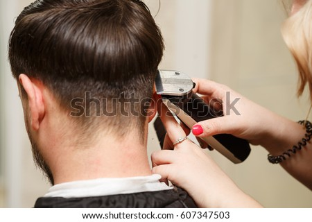 Professional Hairdresser Doing Haircut Mens Hair Stock Photo Edit