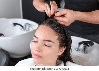 Professional hairdresser dyeing hair of young woman in beauty salon