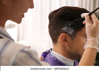 Professional hairdresser dying hair in beauty salon, closeup