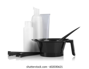 Professional hairdresser kit isolated on white