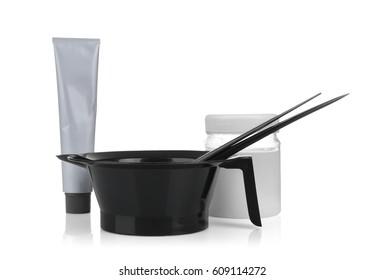 Professional hairdresser kit isolated on white