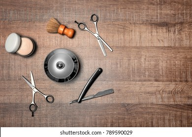 Professional hairdresser set for men on wooden table