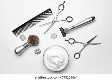 Professional hairdresser set for men on white background