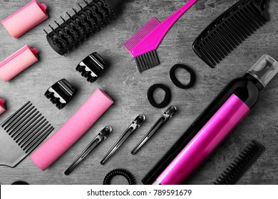Professional hairdresser set on gray table