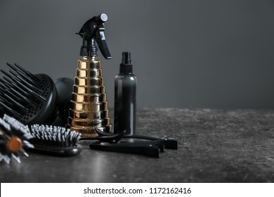 Professional hairdresser's set on dark background