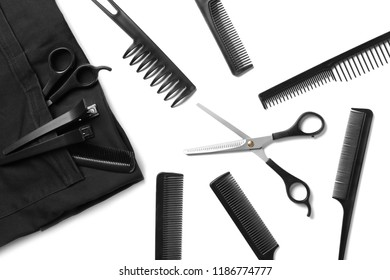 Professional hairdresser's set on white background