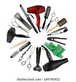 Professional hairdressing equipment - beauty salon and barbershop background