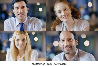 professional happy confident business mixed people collection set. Adults, young, elegant woman, man at office or restaurant. Smiling satisfied, safe and help expression