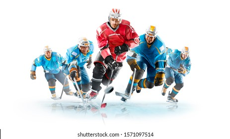Professional hockey players in action Isolated on white background