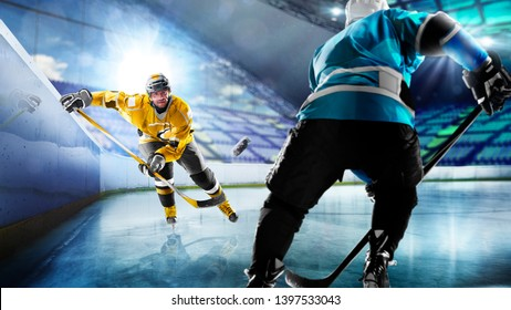 Professional hockey players in action on grand arena