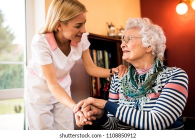 Professional home treatment, nurse visit her senior patient at home