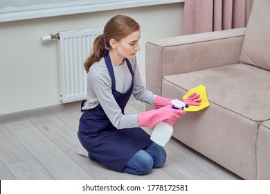 Professional house cleaning. A girl in gloves applies cleaning agent to the sofa