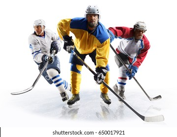 Professional ice hockey players in action