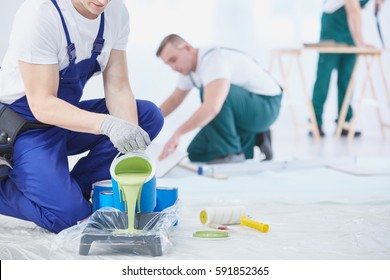 Professional interior construction worker pouring green color to paint