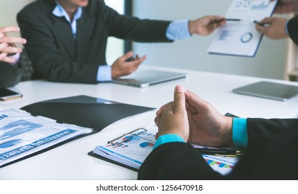 Professional investor meeting present time.Business crew working with new startup,Teamwork concept,discussion document in office.Collaborative filtering.Analyze plans.selective focus,vintage effect.