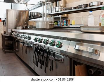 Professional kitchen interior, crock on stove