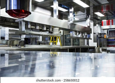 Professional kitchen, view counter in stainless steel .