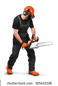Professional logger with chain saw, safety gear on