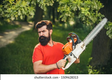 Professional lumberjack holding chainsaw in the forest. Lumberjack holding the chainsaw. Agriculture and forestry theme. Woodworkers lumberjack