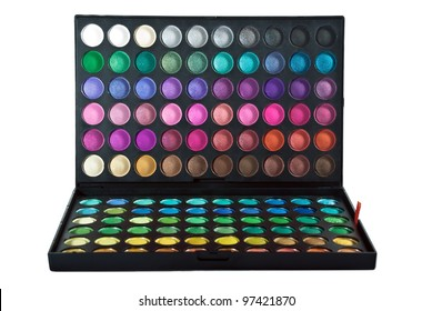 Professional make up eye shadow multicolor palette. Isolated on the white background.