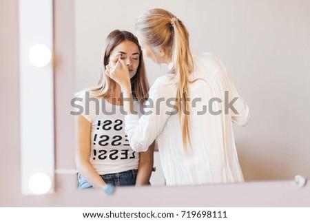 Professional Makeup Artist Working Beautiful Young Stock Photo Edit
