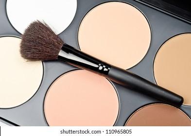 Professional makeup brush and cosmetics