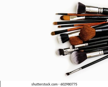 professional makeup Brush on white background, Desk, make-up artist