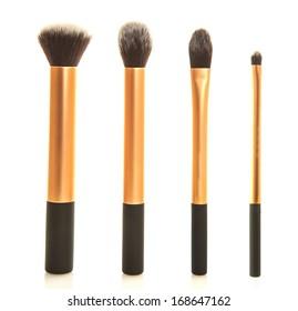Professional makeup brush set on white background