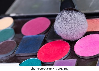 Professional makeup brushes, colorful palette, natural bristle