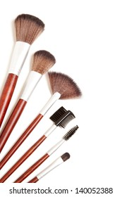 Professional makeup brushes isolated on a white background