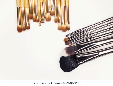 Professional make-up brushes for make-up on a white background
