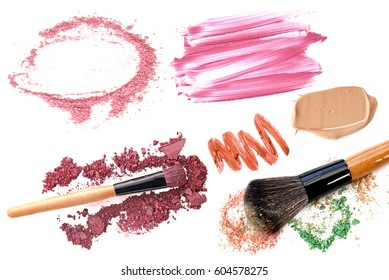 Professional makeup collection and tools isolate on white.