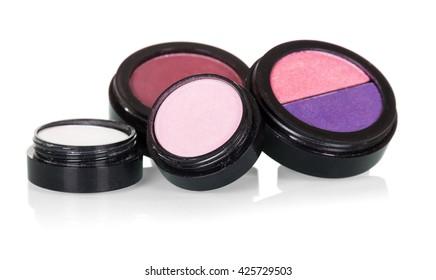 Professional make-up: eye shadow and blusher isolated on white background.