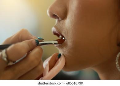 Professional Make-up Lipgloss Lipstick Beautiful woman lips concept