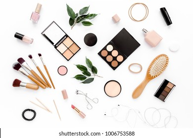Professional makeup tools. Makeup tools brushes. Flat composition. magazines, social media. Top view. Flat lay.