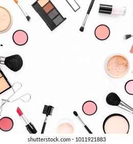 Professional makeup tools. Makeup tools brushes. Flat composition. magazines, social media. Top view. Flat lay.