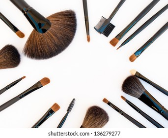 Professional make-up tools: Make-up brushes isolated on white background