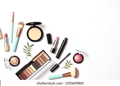 professional makeup tools. Products for makeup on a white background top view. A set of various products for makeup.