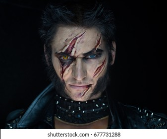 Professional make-up werewolf Wolverine with scars