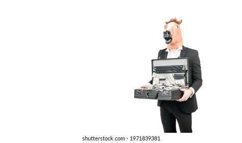 Professional man businessman wear horse head mask in formalwear holding suitcase with dollar banknotes isolated on white copy space, money.